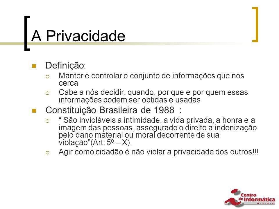 A Privacidade Definição: Constituição Brasileira de 1988 :
