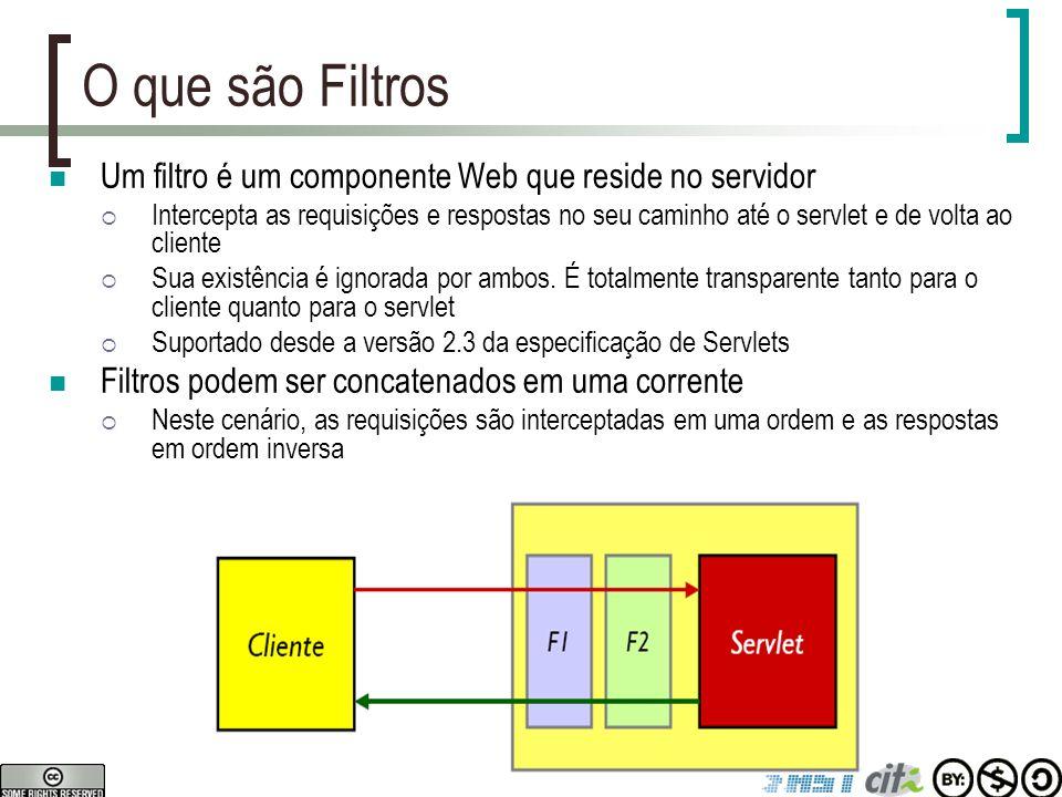 O que são Filtros Um filtro é um componente Web que reside no servidor