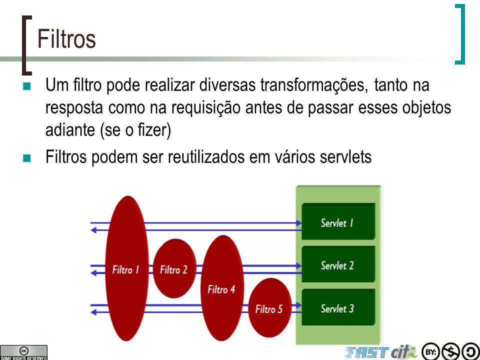 Filtros Um filtro pode realizar diversas transformações, tanto na resposta como na requisição antes de passar esses objetos adiante (se o fizer)