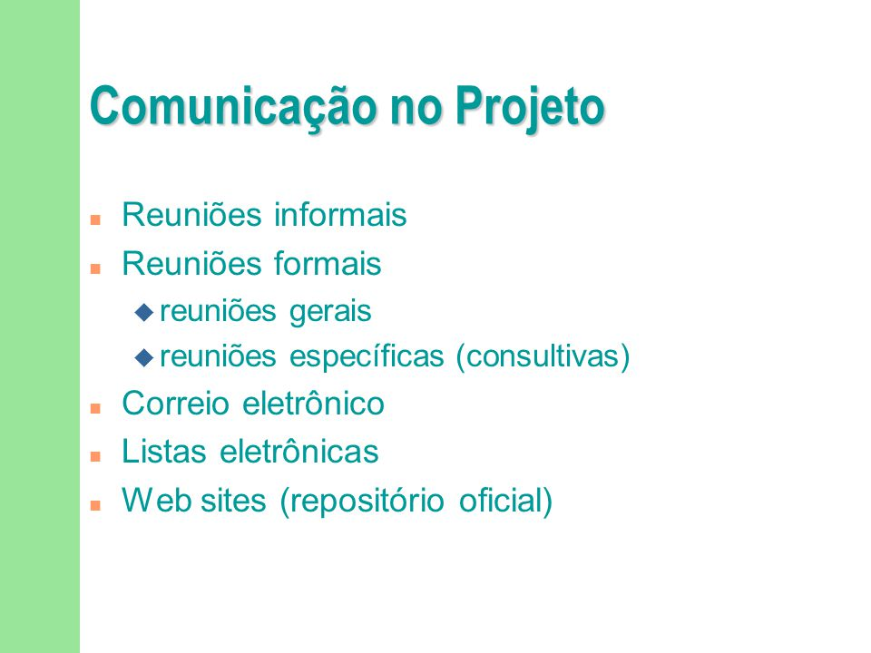 Comunicação no Projeto