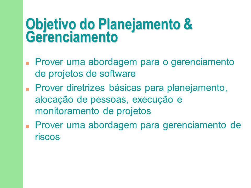Objetivo do Planejamento & Gerenciamento