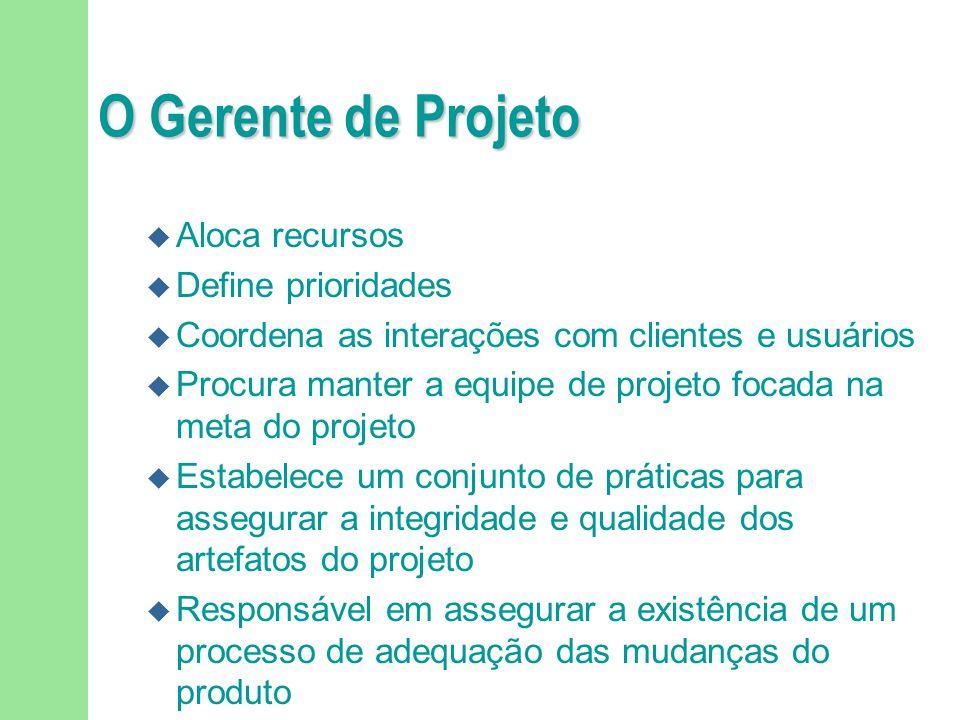 O Gerente de Projeto Aloca recursos Define prioridades