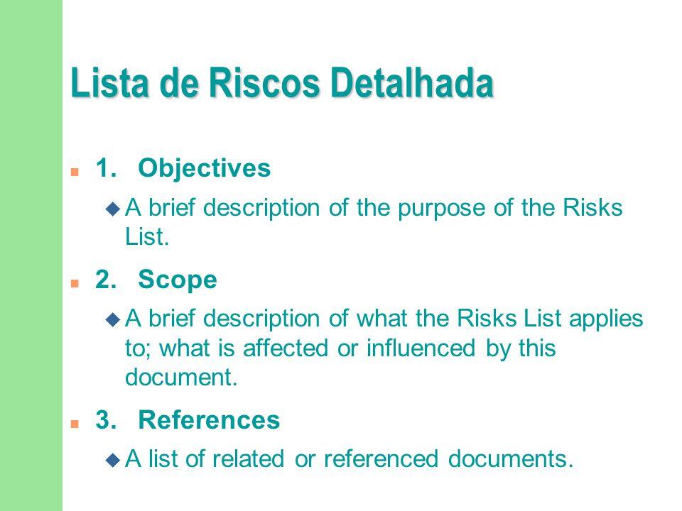 Lista de Riscos Detalhada