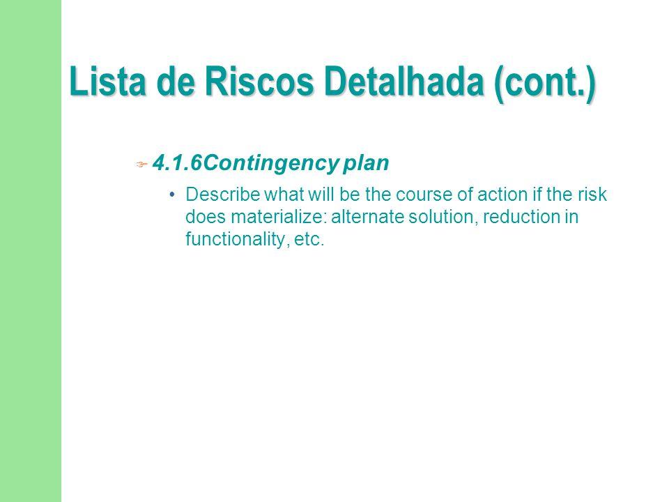 Lista de Riscos Detalhada (cont.)