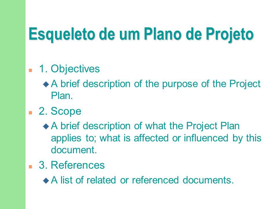Esqueleto de um Plano de Projeto