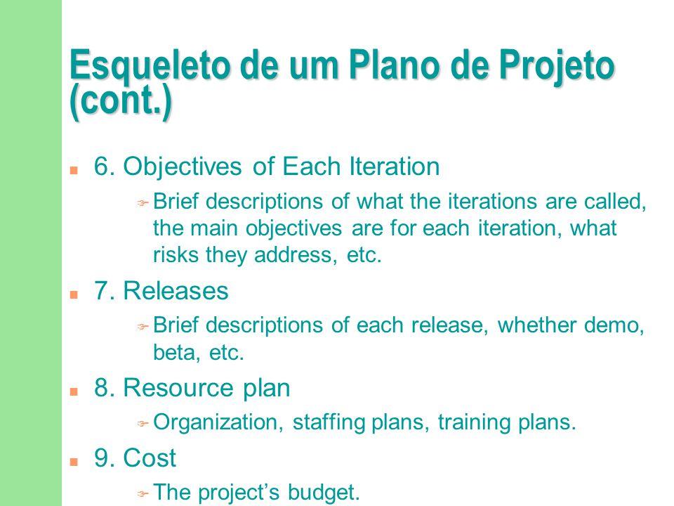 Esqueleto de um Plano de Projeto (cont.)