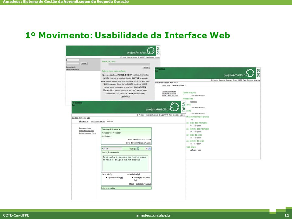 1º Movimento: Usabilidade da Interface Web