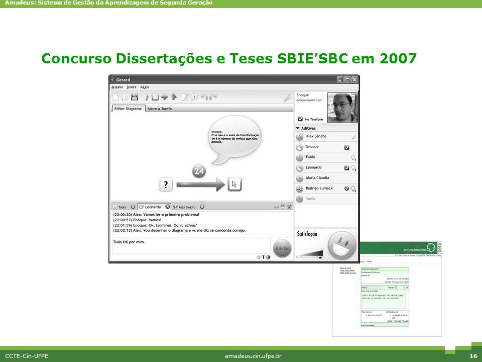 Concurso Dissertações e Teses SBIE'SBC em 2007