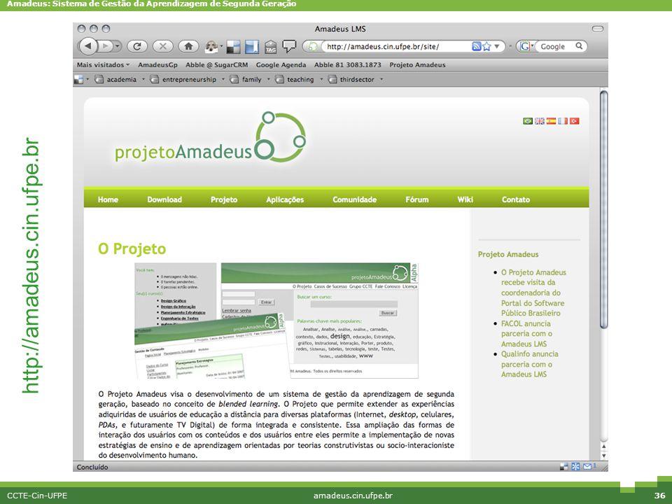 http://amadeus.cin.ufpe.br CCTE-Cin-UFPE amadeus.cin.ufpe.br