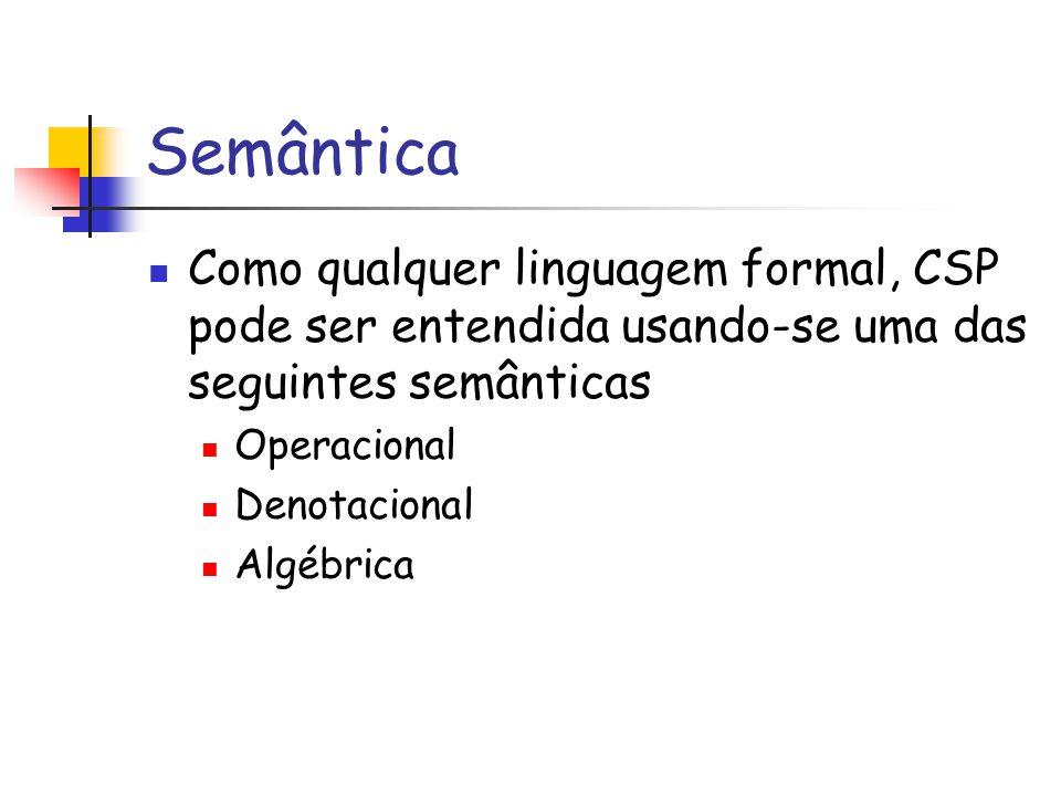 Semântica Como qualquer linguagem formal, CSP pode ser entendida usando-se uma das seguintes semânticas.