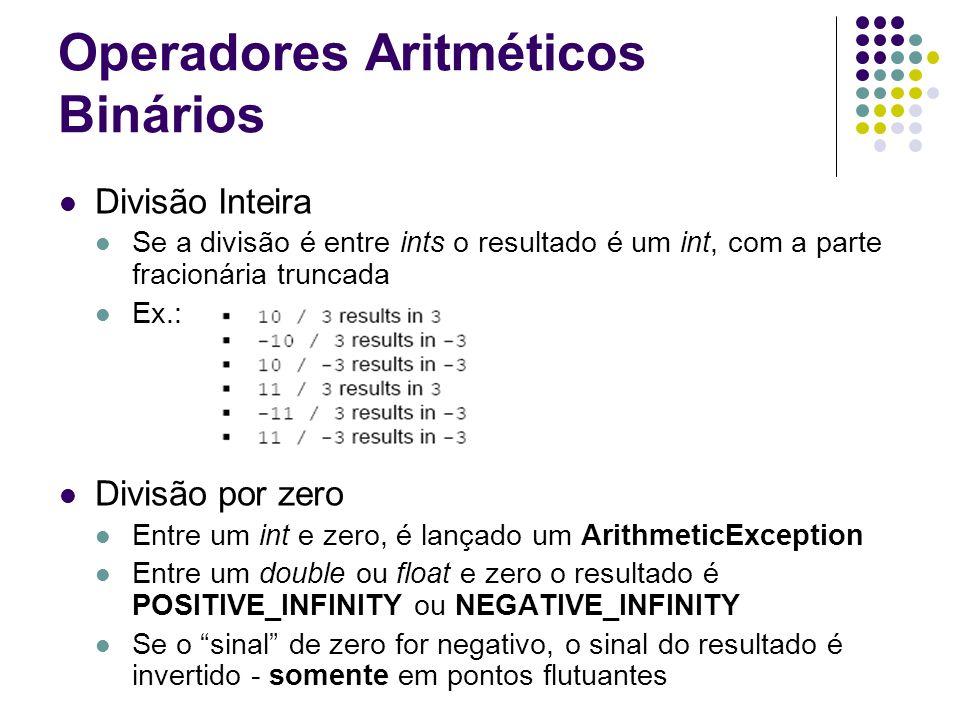 Operadores Aritméticos Binários