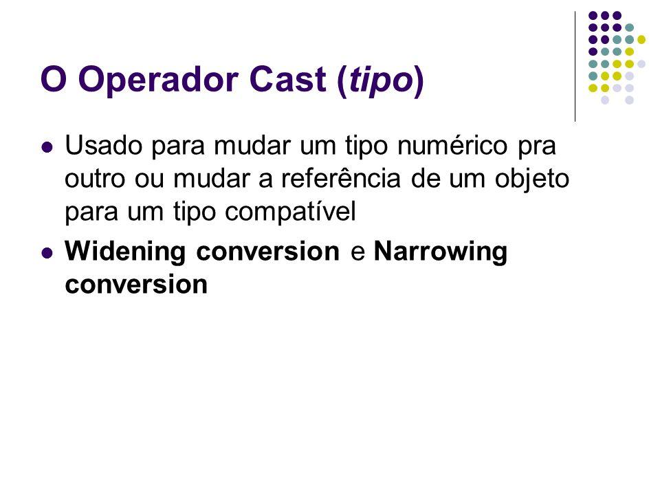 O Operador Cast (tipo) Usado para mudar um tipo numérico pra outro ou mudar a referência de um objeto para um tipo compatível.