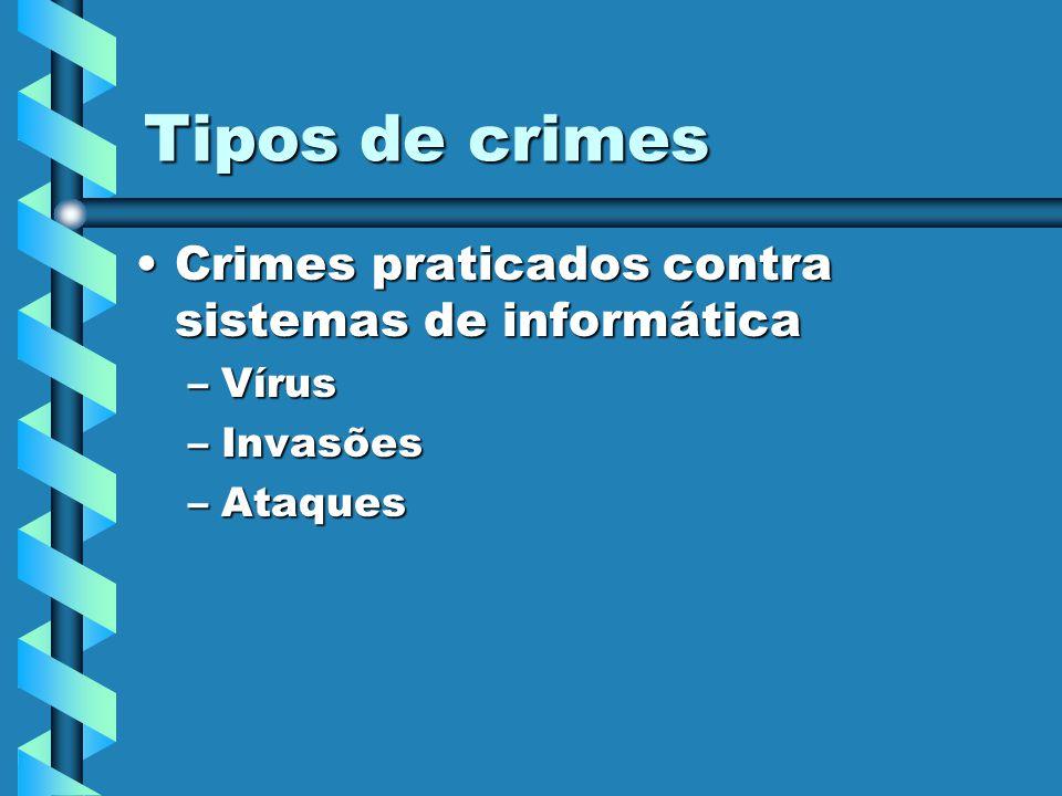 Tipos de crimes Crimes praticados contra sistemas de informática Vírus