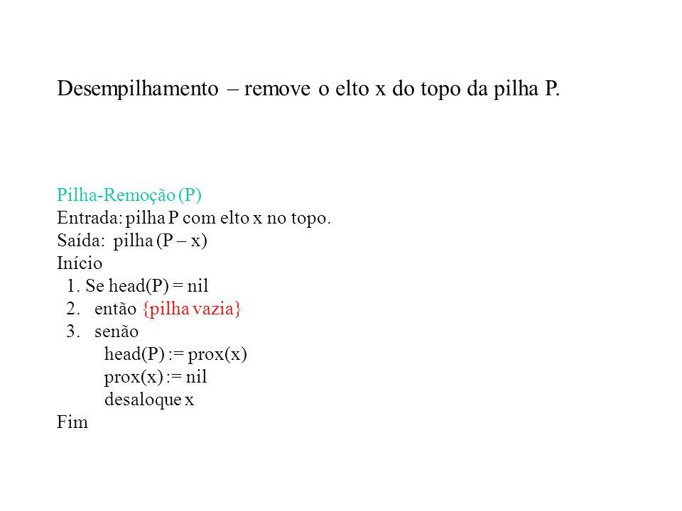 Desempilhamento – remove o elto x do topo da pilha P.
