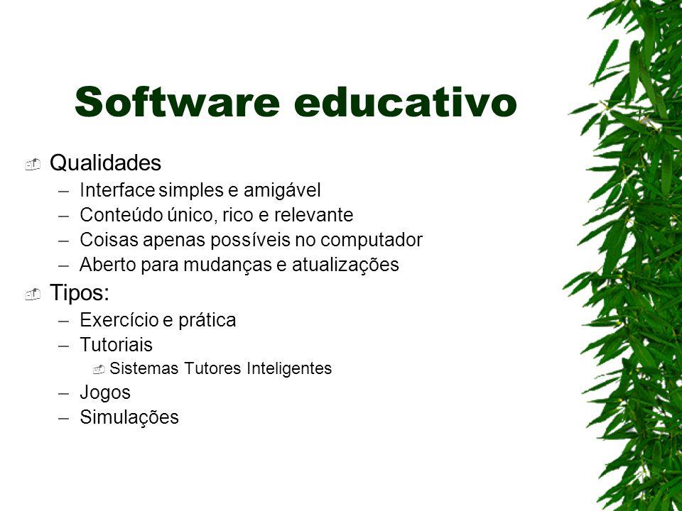 Software educativo Qualidades Tipos: Interface simples e amigável