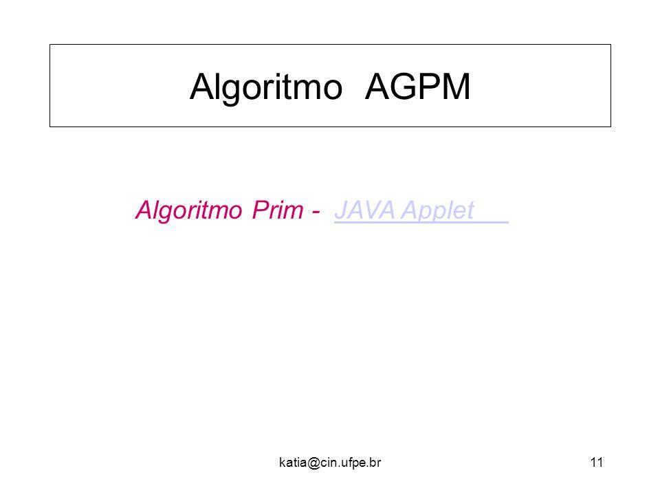 Algoritmo AGPM Algoritmo Prim - JAVA Applet katia@cin.ufpe.br