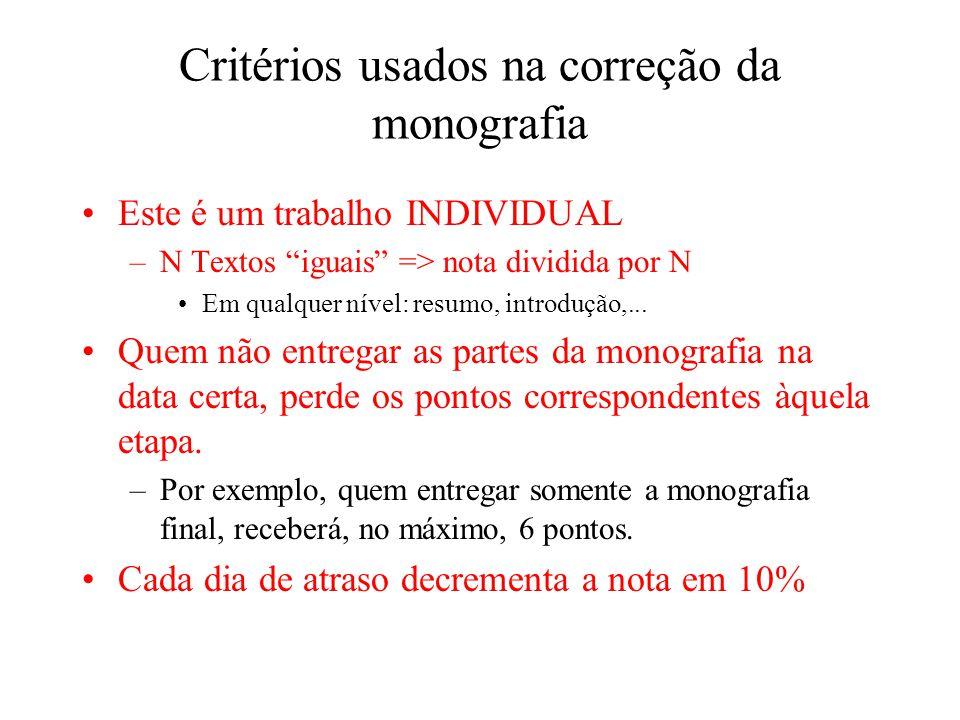 Critérios usados na correção da monografia