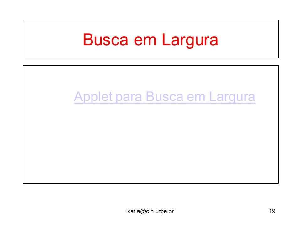 Busca em Largura Applet para Busca em Largura katia@cin.ufpe.br