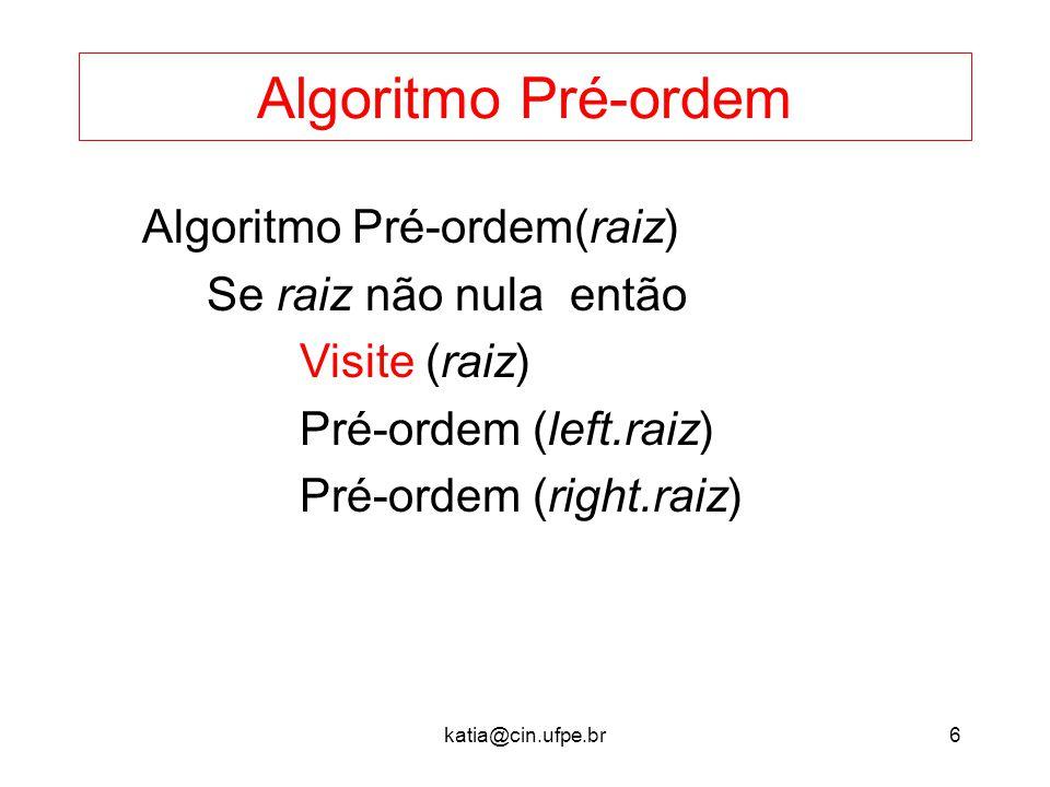 Algoritmo Pré-ordem Algoritmo Pré-ordem(raiz) Se raiz não nula então