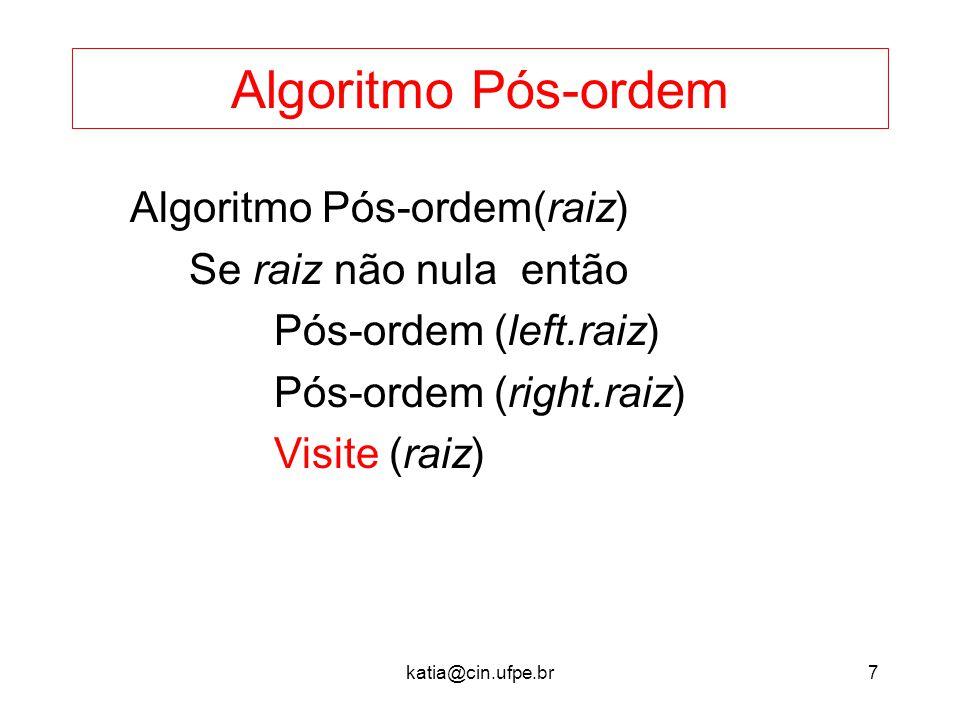 Algoritmo Pós-ordem Algoritmo Pós-ordem(raiz) Se raiz não nula então