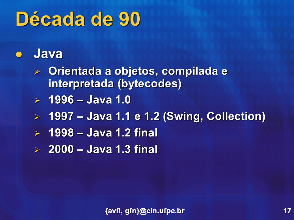 Década de 90 Java. Orientada a objetos, compilada e interpretada (bytecodes) 1996 – Java 1.0. 1997 – Java 1.1 e 1.2 (Swing, Collection)