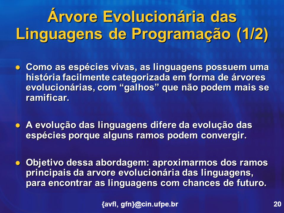 Árvore Evolucionária das Linguagens de Programação (1/2)