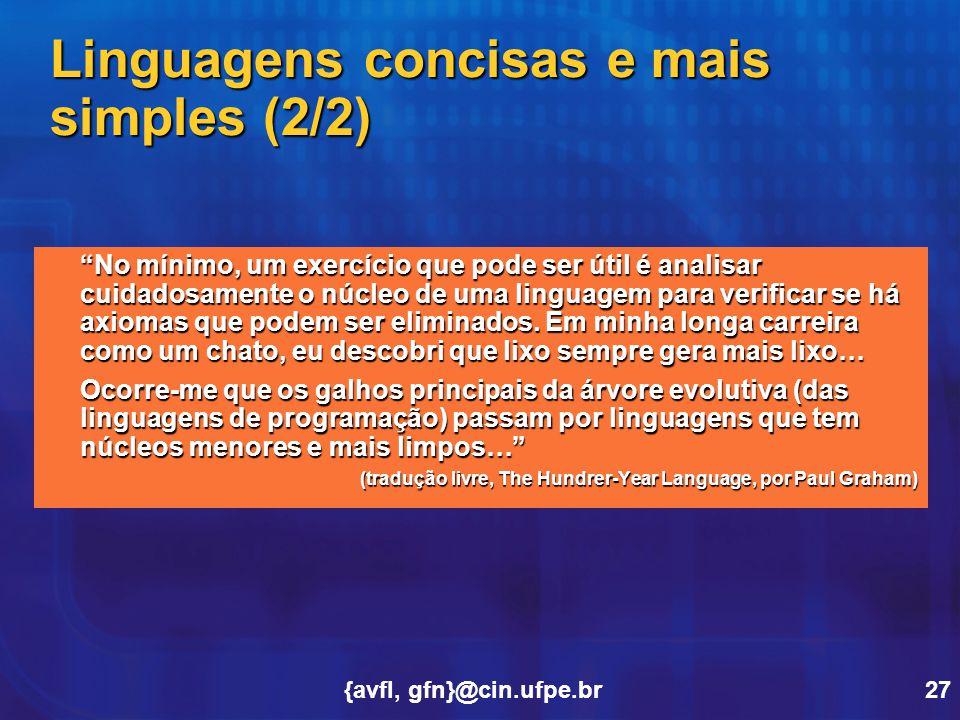 Linguagens concisas e mais simples (2/2)