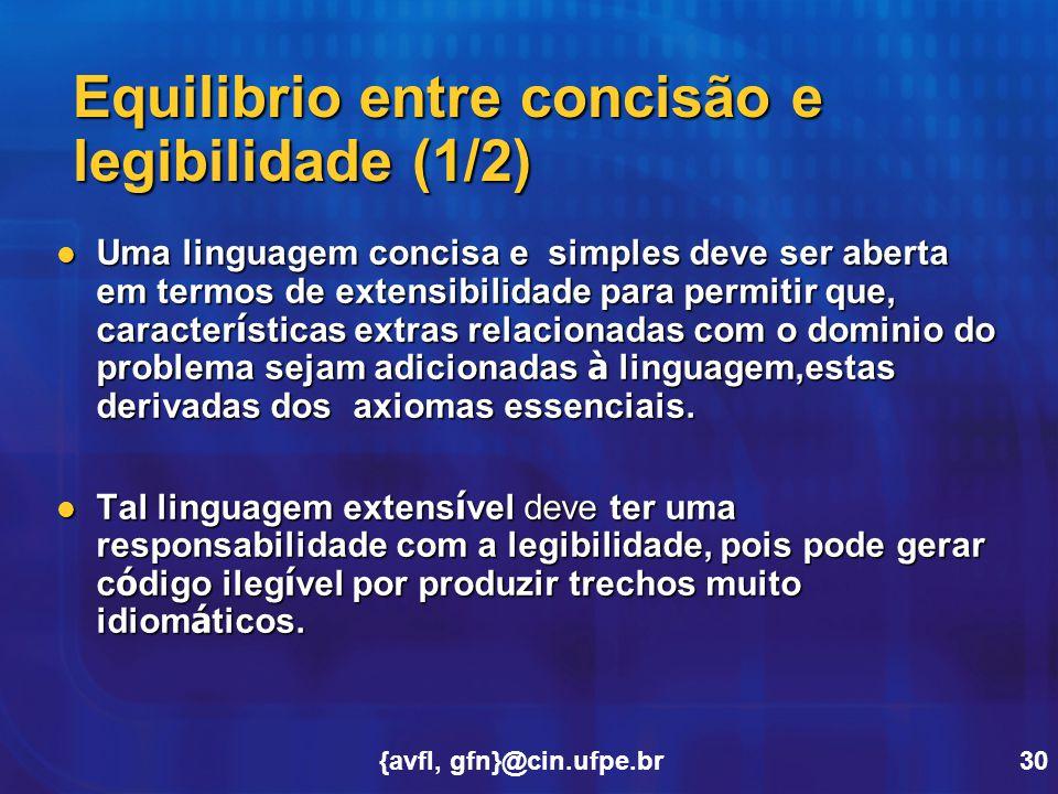 Equilibrio entre concisão e legibilidade (1/2)