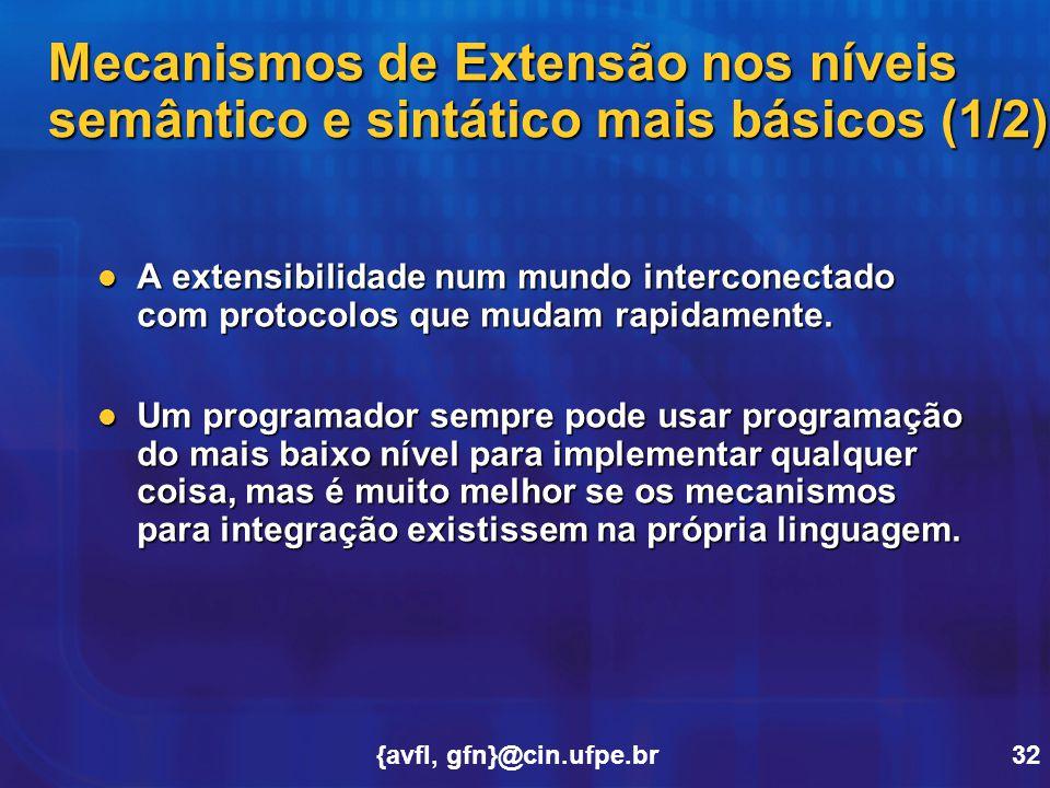 Mecanismos de Extensão nos níveis semântico e sintático mais básicos (1/2)