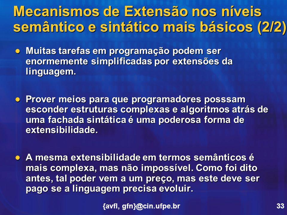 Mecanismos de Extensão nos níveis semântico e sintático mais básicos (2/2)