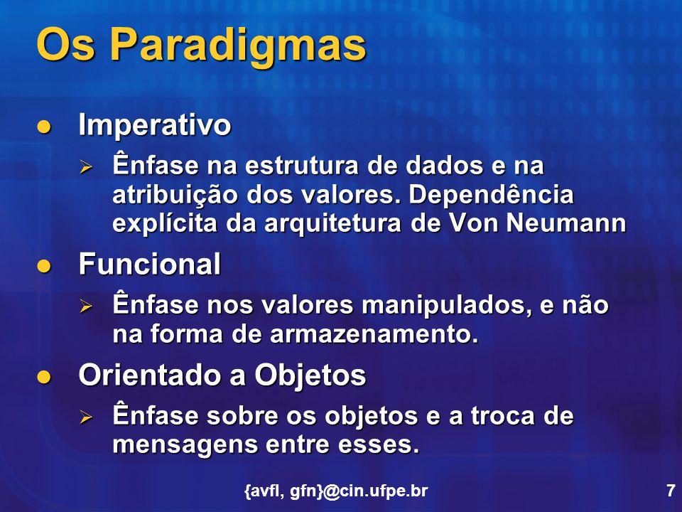 Os Paradigmas Imperativo Funcional Orientado a Objetos