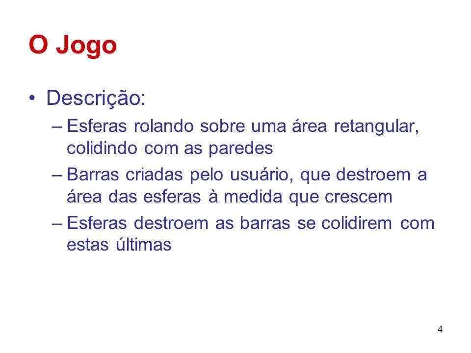 O Jogo Descrição: Esferas rolando sobre uma área retangular, colidindo com as paredes.