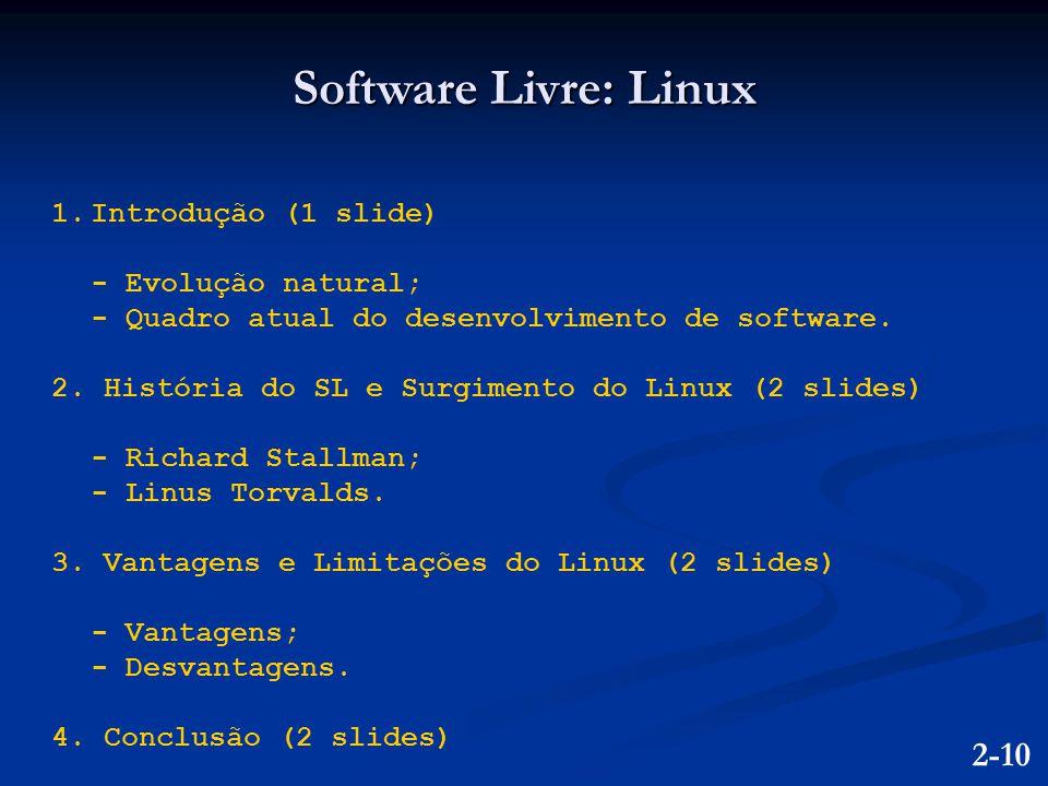 Software Livre: Linux 2-10 Introdução (1 slide) - Evolução natural;