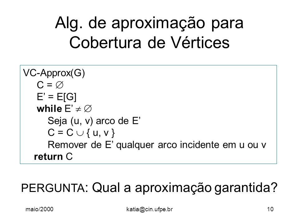 Alg. de aproximação para Cobertura de Vértices
