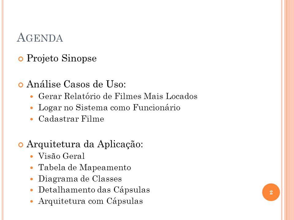 Agenda Projeto Sinopse Análise Casos de Uso: Arquitetura da Aplicação: