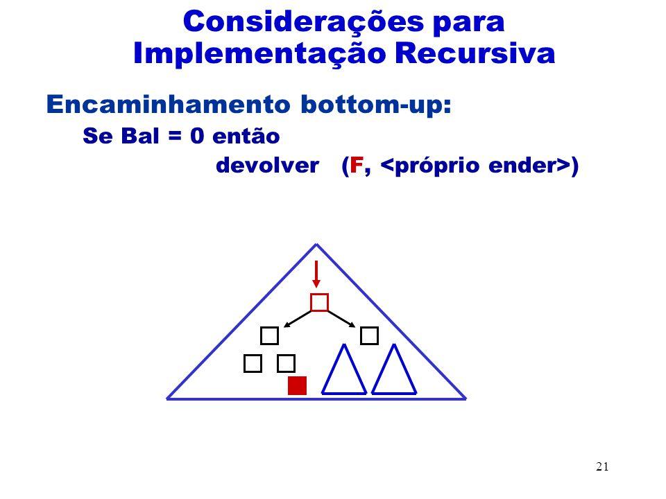 Considerações para Implementação Recursiva