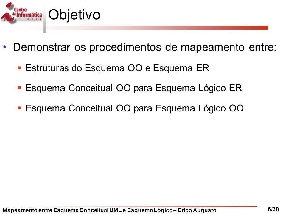 Objetivo Demonstrar os procedimentos de mapeamento entre: