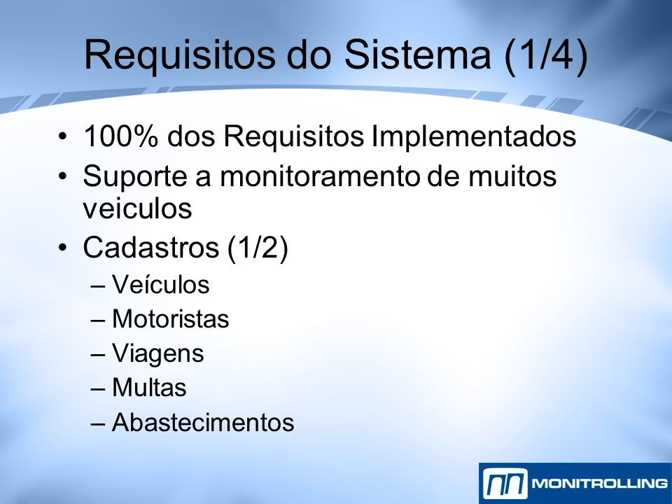 Requisitos do Sistema (1/4)