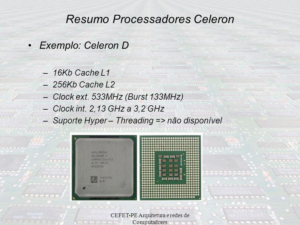 Resumo Processadores Celeron