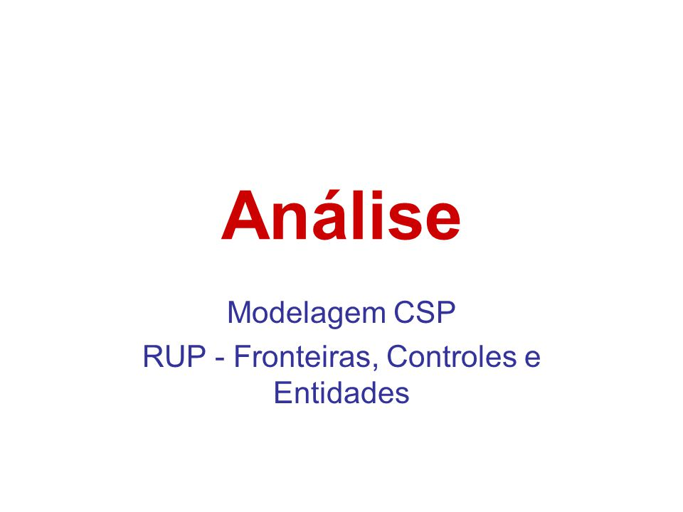 Modelagem CSP RUP - Fronteiras, Controles e Entidades