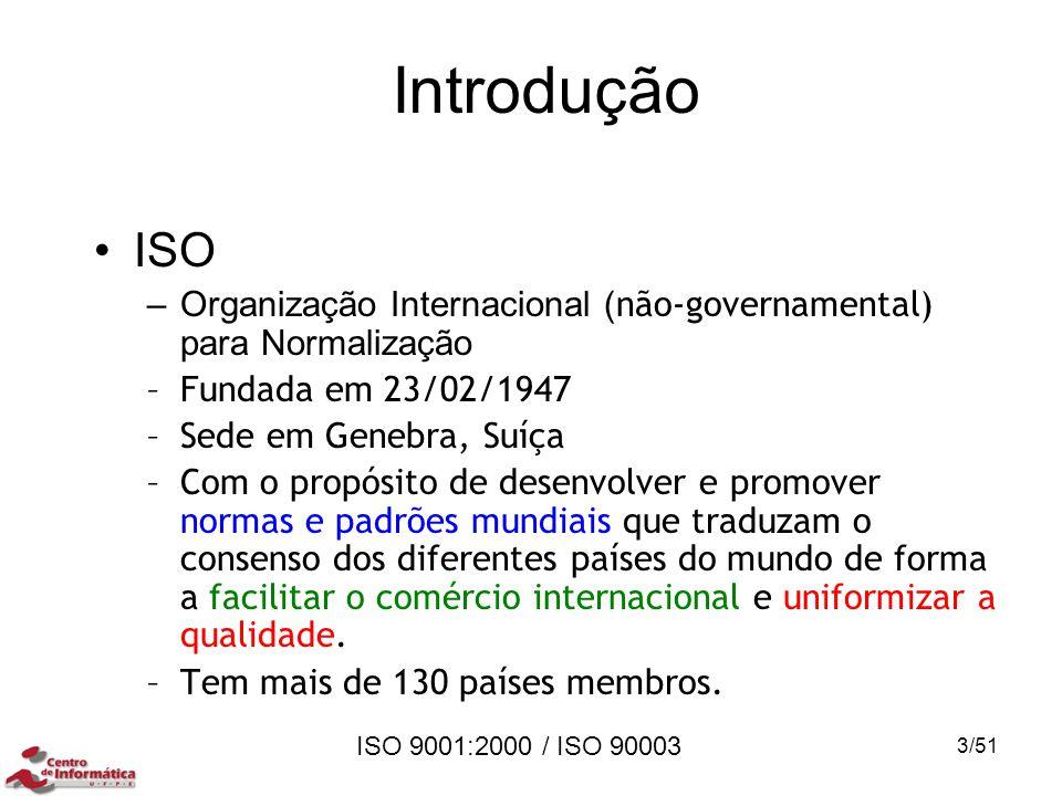 Introdução ISO. Organização Internacional (não-governamental) para Normalização. Fundada em 23/02/1947.