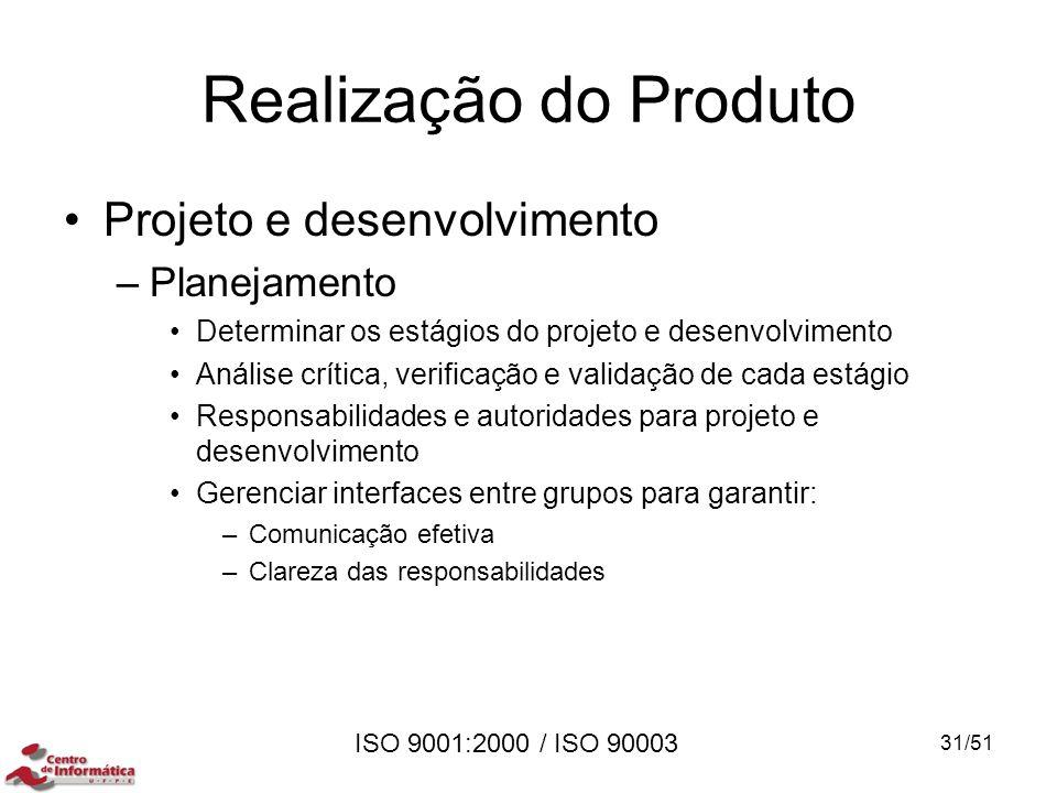 Realização do Produto Projeto e desenvolvimento Planejamento