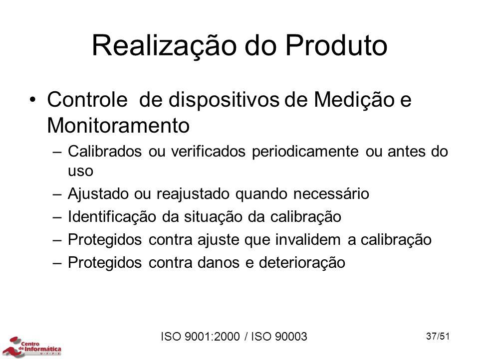 Realização do Produto Controle de dispositivos de Medição e Monitoramento. Calibrados ou verificados periodicamente ou antes do uso.