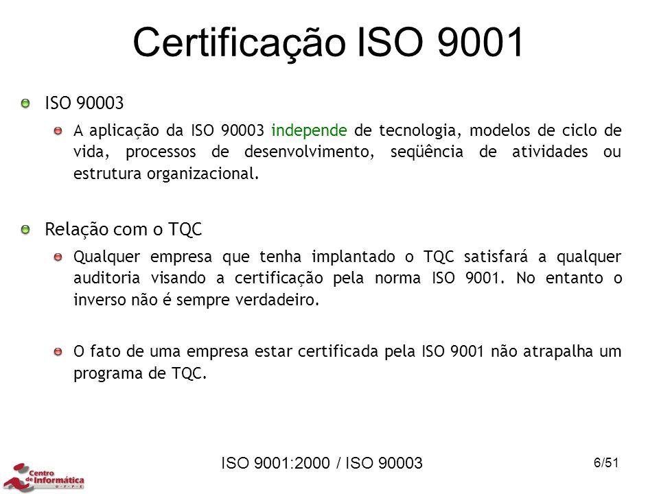 Certificação ISO 9001 ISO 90003 Relação com o TQC