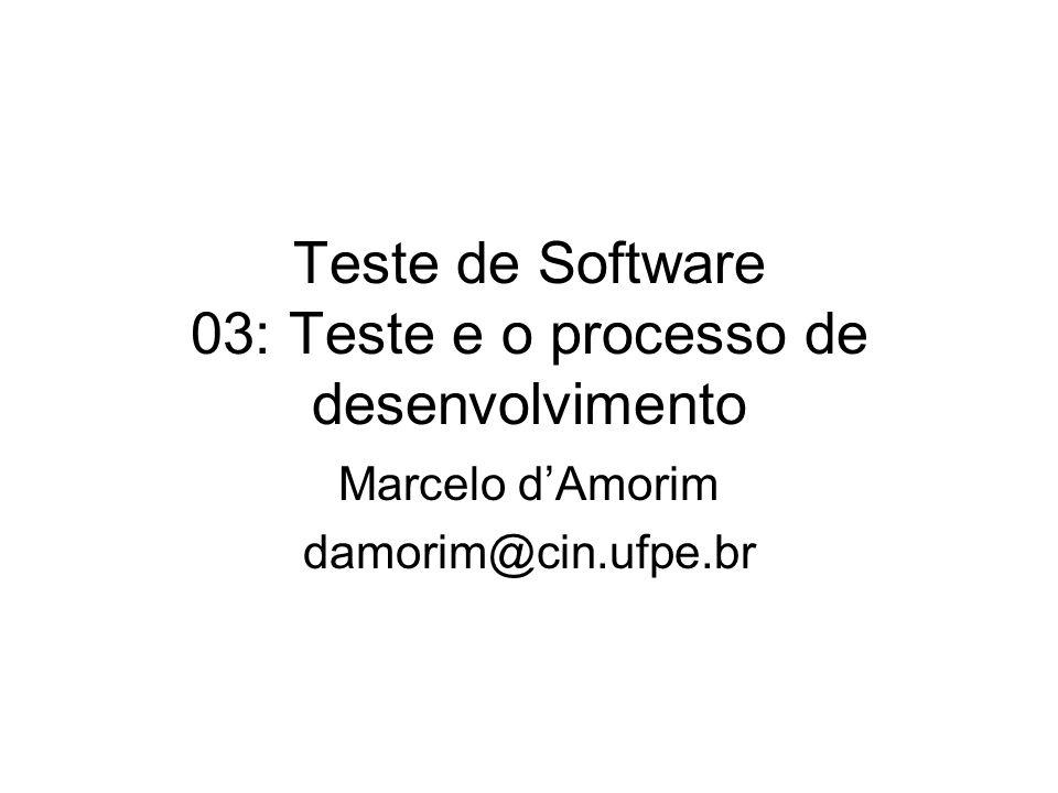 Teste de Software 03: Teste e o processo de desenvolvimento