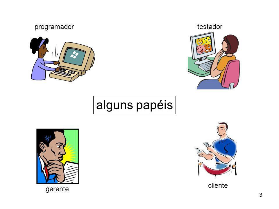 programador testador alguns papéis cliente gerente