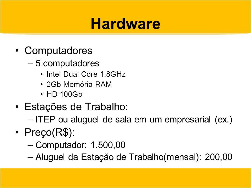 Hardware Computadores Estações de Trabalho: Preço(R$): 5 computadores