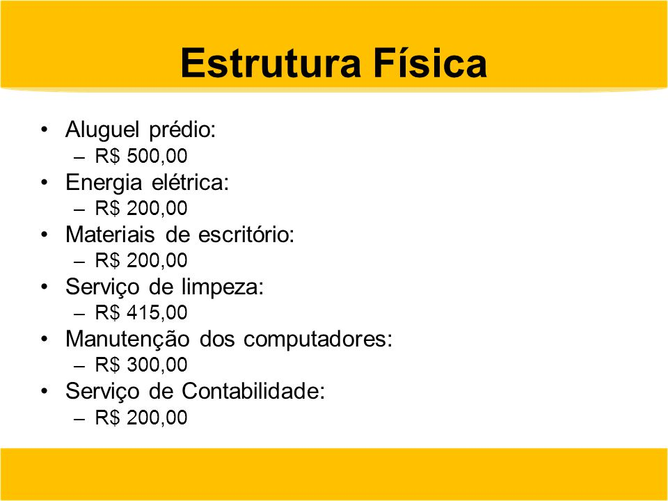 Estrutura Física Aluguel prédio: Energia elétrica: