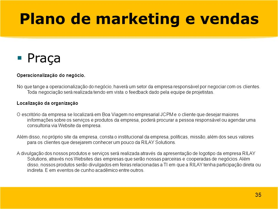 Plano de marketing e vendas