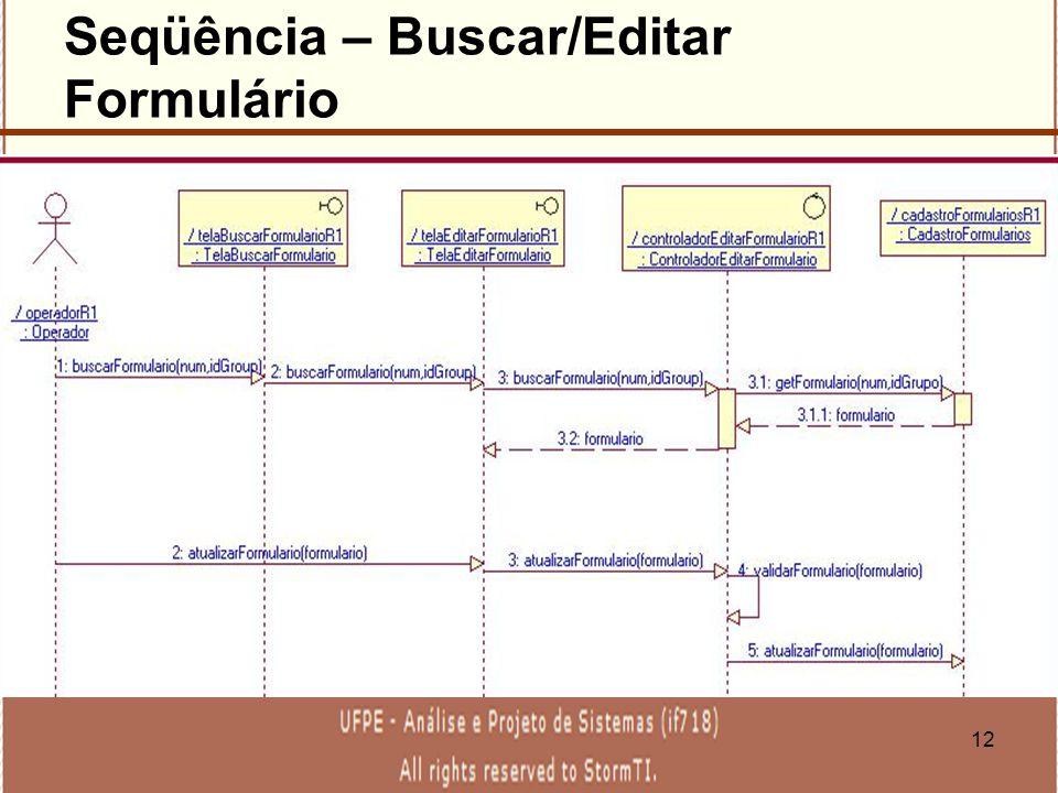 Seqüência – Buscar/Editar Formulário